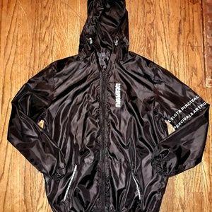 Mens black and white windbreaker jacket, sz L